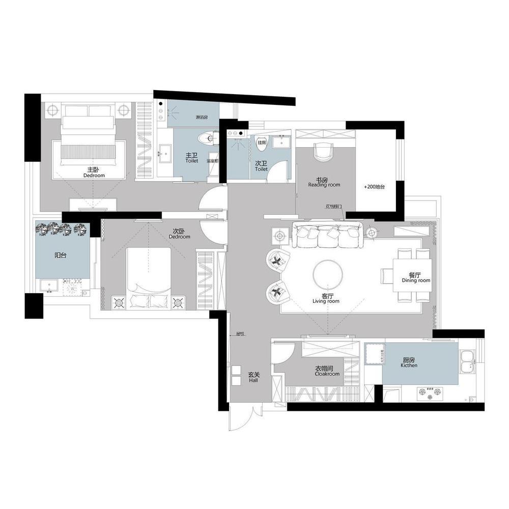 以黑白灰为基调,将墙面做为聚集点,融合卡其色皮质沙发及木质桌椅