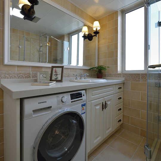 嵌入式洗衣机出自设计师的巧妙设计,不占用多余空间,大理石台面与图片