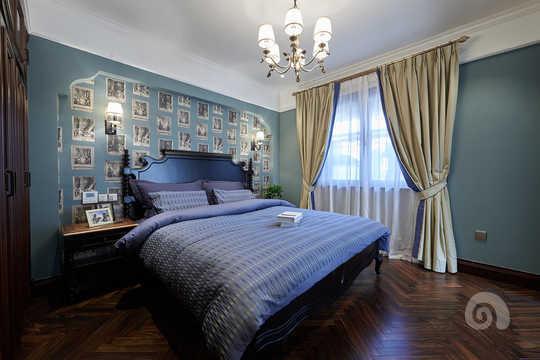 男孩卧室蓝色系短款窗帘