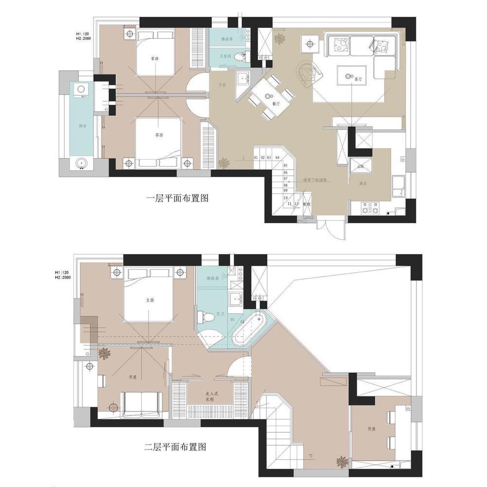 loft空间平面手绘图