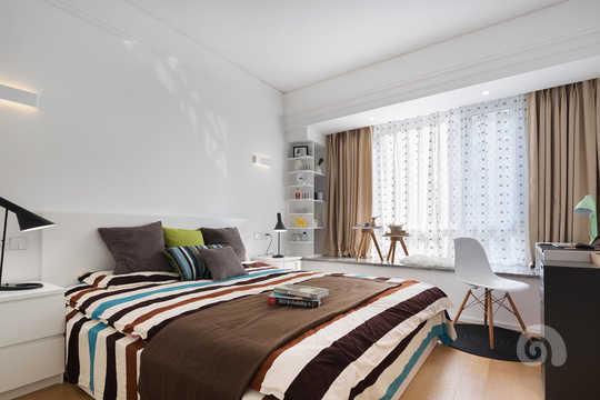 北欧风格主卧室墙纸颜色图片