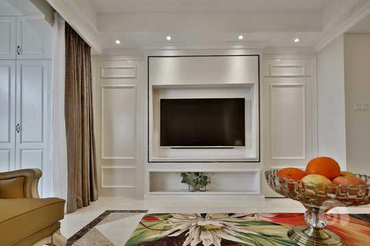 客廳背景墻將隱形門打開后的效果