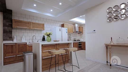 开放式厨房,西厨,吧台~是现代别墅的设计