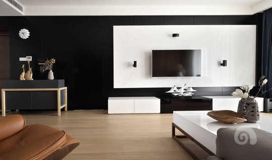 黑色t角线墙体搭配图片客厅